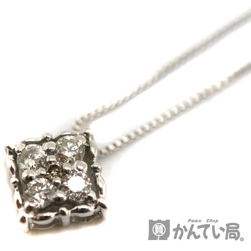 Pt850 トップPt900 ダイヤモンドネックレス ネックレス 白金 プラチナ ダイヤモンド0.10ct 約40.5cm ジュエリー 宝石 新品仕上げ済み USED-9【中古】 a3103209028600045 質屋 かんてい局茜部店