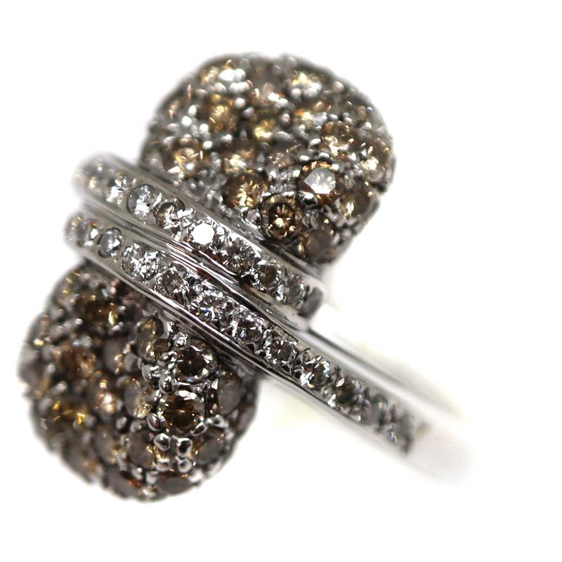 ラッピング対応 USED-9 ファクトリーアウトレット 未使用 SA 質屋かんてい局茜部店 K18WG リング 指輪 金 ホワイトゴールド ダイヤモンド1.64ct 0.28ct 約13.5号 新品仕上げ済み アクセサリー 質屋 9.4g 中古 ジュエリー ブラウンダイヤモンド かんてい局茜部店 A21-249