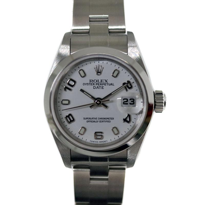 ROLEX 【ロレックス】 79160 オイスターパーペチュアルデイト ホワイト K番 レディース 腕時計 【中古】 USED-SA【9】 かんてい局茜部店 a21-3496