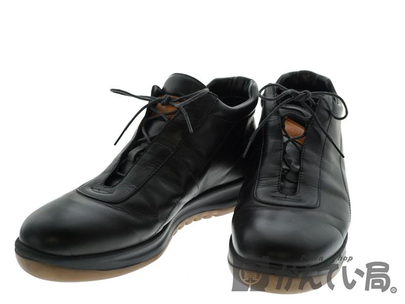 【エントリーでポイント5倍】【ポイントアップ対象店舗】LOUISVUITTON【ルイヴィトン】 レザースニーカー レザー 革靴 ブラック 黒 メンズシューズ 靴 【中古】 USED-6 質屋 かんてい局北名古屋店 n19-4052