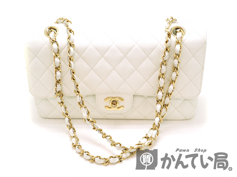 e9cd701031e9 ... CHANEL A1112 Wフラップチェーンショルダー チェーンバッグ 鞄 オフホワイト 白 ゴールド金具 キャビアスキン