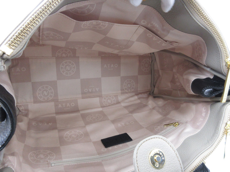 ATAO アタオ ハンドバッグ 2WAYバッグ ショルダーバッグ レザー グレージュ系×ピンク系×ブラック系 ファション ブランBeQdxoCrW