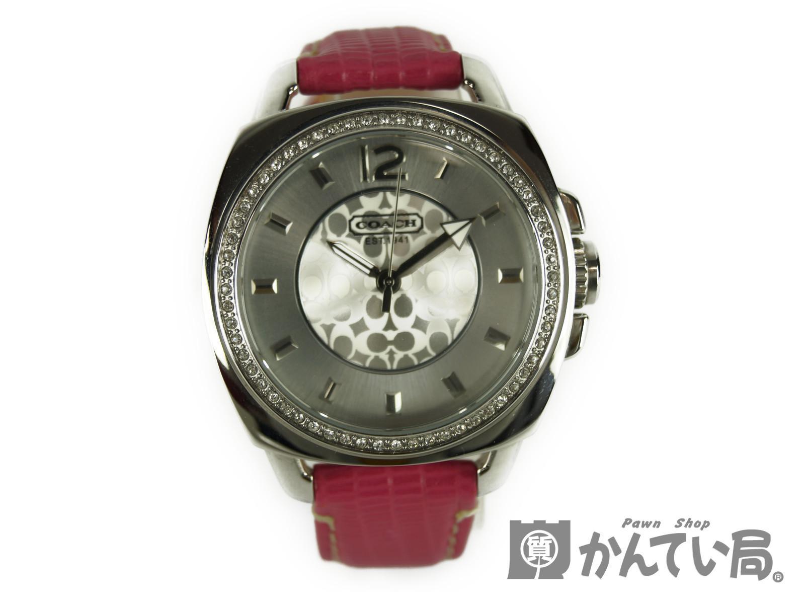 【COACH】コーチ クォーツCA43.7.14 レディース腕時計 ピンク【中古】F67-3020 USED-A かんてい局本社