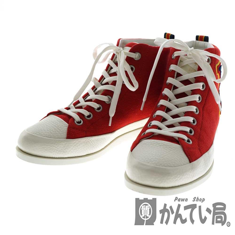 【エントリーでポイント5倍】【ポイントアップ対象店舗】LOUISVUITTON【ルイヴィトン】 ハイカットスニーカー レザー スウェット 赤 ロゴワッペン カジュアル メンズシューズ 靴 サイズ5 約24.5cm 【中古】USED-6 質屋 かんてい局北名古屋店 n20-1324