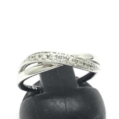 4℃ ダイヤ付ファッションリング 約10号 2.6g シルバーカラー n18-7614 K18WG 付属品無し 40%OFFの激安セール 送料無料新品