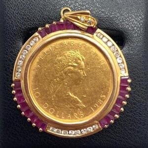 【中古】【USED】ダイヤ付きペンダントコイントップ メープル金貨 K24(1/4OZ) 枠K18 ダイヤ付 ペンダントトップ かんてい局名護店