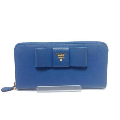 PRADA【プラダ】【USED-A】1M0506 ラウンドファスアー長財布 ブルー リボン n17-3696