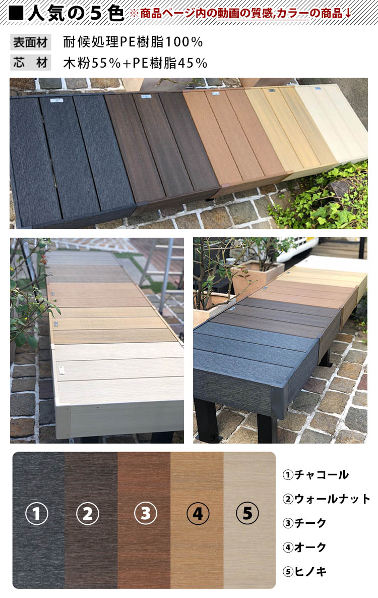 ウッドデッキ(樹脂/人工木)DIYにオススメのデッキ材料セット(デッキ材・ウッドパネル/束柱・足/ビス)腐らない人工木デッキは屋根をつけてお庭の洗濯物干し場に新築外構の施主支給品間口1.0間(1.8m)×出幅6尺(1.8m)送料無料05P03Dec16