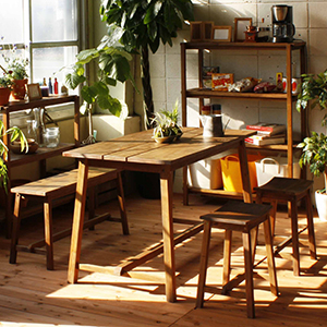 テーブルセット つくえ チェア 木 木製 木製机 机 アンティーク 北欧 カフェ おしゃれ デザイン ガーデンファニチャー テーブルとスツール2つとベンチセット 家具 【全国一律送料無料】