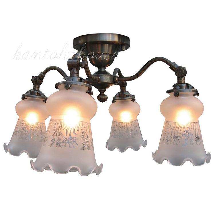 アンティーク調クラシックスタイルのシーリングランプ。おしゃれなシャンデリア。 リビングやダイニングの主役になる簡単取付の引掛けシーリングタイプの室内照明。 LED電球に交換可能