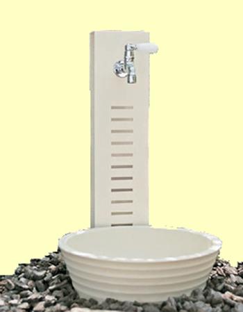 【立水栓・水栓柱】 陶芸ポット ラルゴ【関東・東北・北海道送料無料】ガーデニングの散水がさらに楽しくなるモダンな立水栓に陶器製ポットを組合わせて【地域限定送料無料】