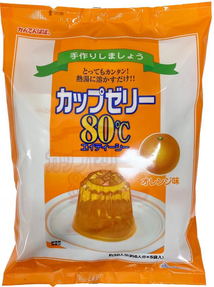 ブランド買うならブランドオフ 手づくりしましょう とってもカンタン 受注生産品 熱湯に溶かすだけ カップゼリー80℃オレンジ味 約6人分X5袋入 かんてんぱぱ