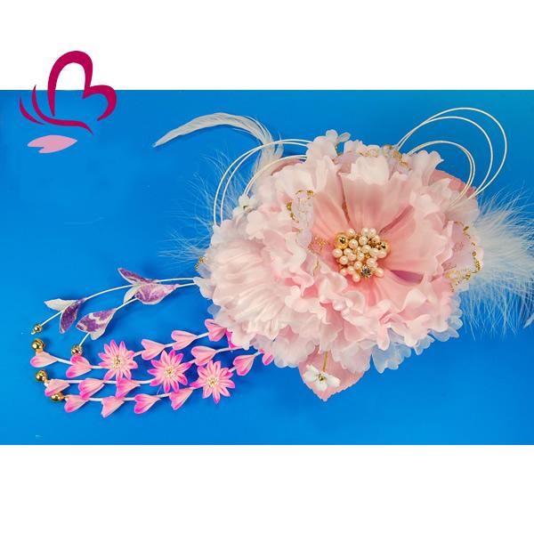 【髪飾り 成人式 振り袖】 ピンク 桃色 大きい 花かんざし 【卒業式の袴 和装の結婚式 七五三や浴衣、着物に】