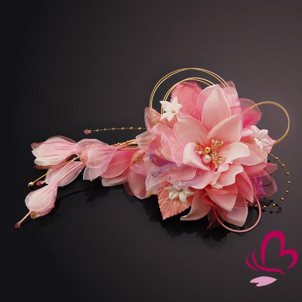 【髪飾り 成人式 振袖】 ピンク 桃色 大きい 花かんざし 【卒業式の袴 和装の結婚式 七五三や浴衣、着物に】