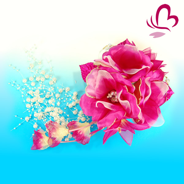 【成人式 振袖 髪飾り】 ワイン 赤紫 大きい 花かんざしパール 【卒業式の袴 和装の結婚式 七五三や浴衣、着物に】