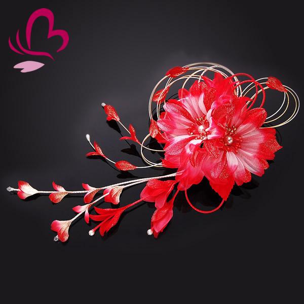 【髪飾り 成人式 振袖】 赤 レッド 大きい 花かんざし 水引 ガーベラ 【卒業式の袴 和装の結婚式 七五三や浴衣、着物に】