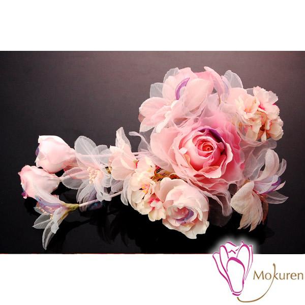 【髪飾り 成人式 振り袖】 ピンク 桃色 薔薇 大きい 花びら 日本製 【卒業式の袴 和装の結婚式 七五三や浴衣、着物に】