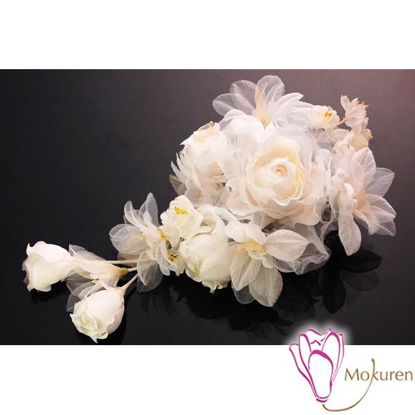 【振袖 髪飾り 成人式】 白 純白 薔薇 大きい 花びら 日本製 【ウェディング ドレス ヘッドドレス】【卒業式の袴 和装の結婚式 七五三や浴衣、着物に】