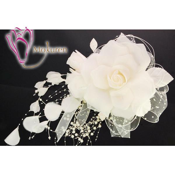 【結婚式 髪飾り/ヘッドドレス ウェディング ドレス】 白 ホワイト 大きい シルク 日本製 ブライダル ウエディング 髪飾り