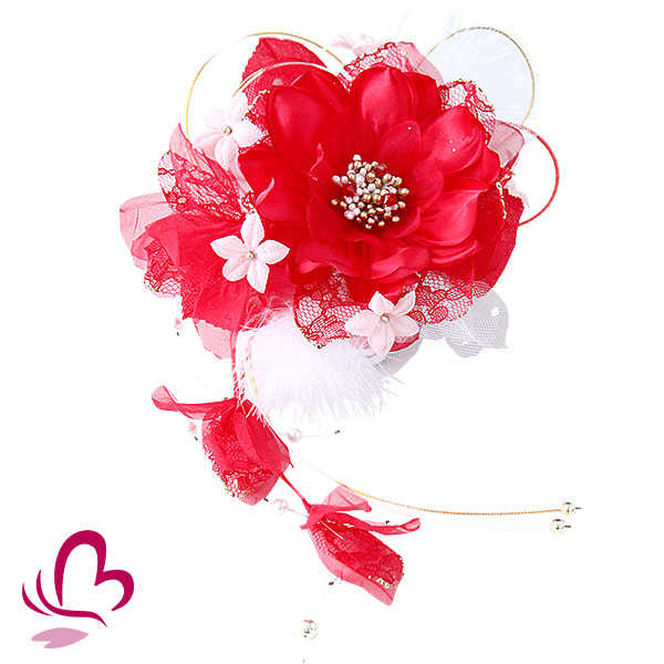 【振袖 髪飾り 成人式】 一輪花 赤 レッド 羽 レース 大きめ花 【卒業式の袴 和装の結婚式 七五三や浴衣、着物に】