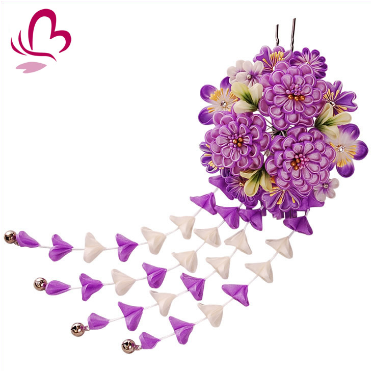 【成人式 つまみ細工 髪飾り 振袖】 紫色 菊 正絹 ちりめん つまみかんざし 花 【卒業式の袴 和装の結婚式 七五三や浴衣、着物に】