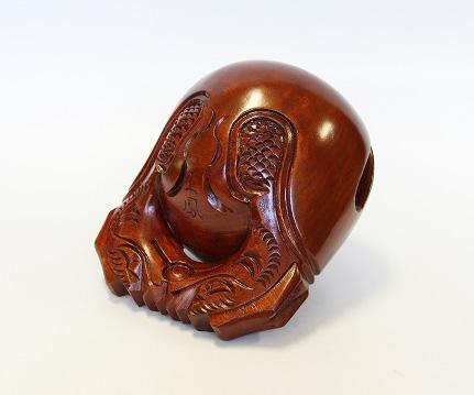 本楠 摺り漆 並彫 木魚 4.0寸