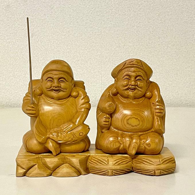 ついに再販開始 桧 二福神 日本未発売 えびす 大黒天 床 美術工芸品 木製品 A-123