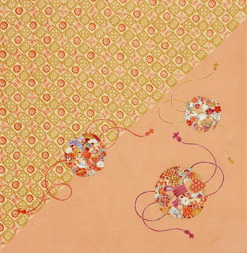 【送料無料+紙箱付】絹のふろしき 花丸のし68cm風呂敷専門店・唐草屋