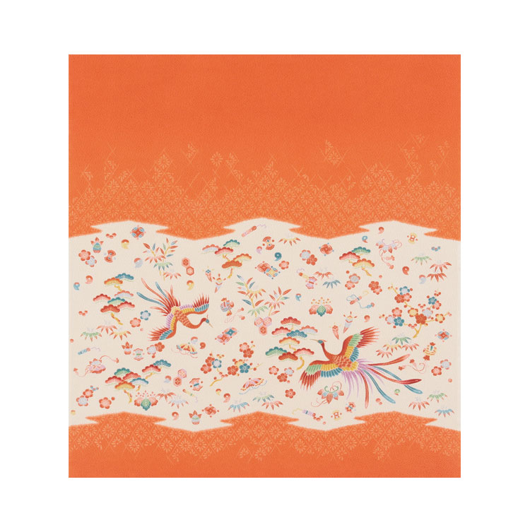 【送料無料+紙箱付】絹のふろしき 正羽取鳳凰75cm(色:朱)風呂敷専門店・唐草屋