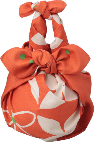 90 cm cotton Furoshiki (wrapping cloth) kotoima Hana (red (orange) color) specializes in wrapping and design shop.
