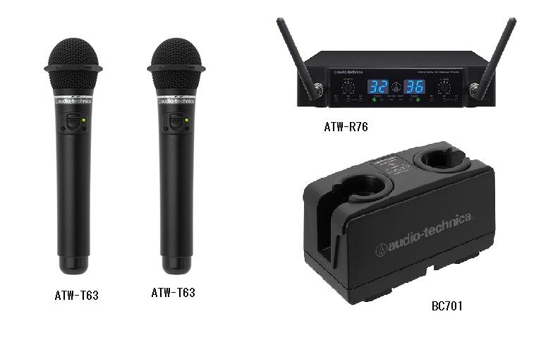 オーディオテクニカ(audio-technica)ATW-T63 4点セット/ブラック 800MHz帯ワイヤレスマイク/レシーバー/充電器/新品 30チャンネル切換式