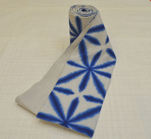 【送料無料】藤井絞謹製 半幅帯 雪花絞グレーに藍 02P10Jan15
