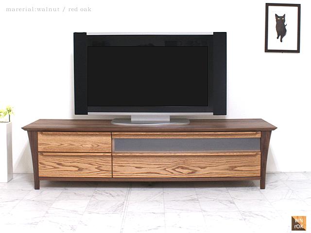 【~6/4 19:59 5%OFF】ウォールナット[TV-27] 180センチ幅 テレビボード日本製 天然木 無垢 モダン シンプル ミストガラス スライドレール 閉めたまま操作 シャープ 自然 リビング ダイニングからも AVラック 脚W1800×D481×H451 mm
