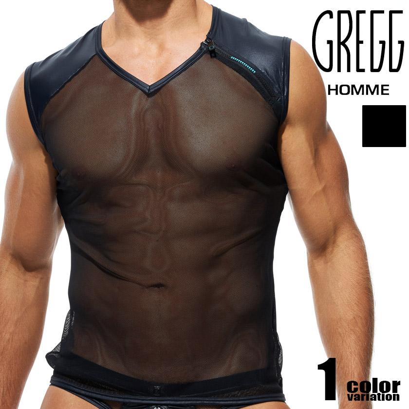 カナダ発 男性的なSEXYを追求したラグジュアリーブランド ラッピングOK 新作製品、世界最高品質人気! GreggHomme グレッグ オム UNLOCKED MUSCLE 4年保証 SHIRT トップス 半袖 シースルー 透け ノースリーブ フェイクレザー Tシャツ ファッション メンズ