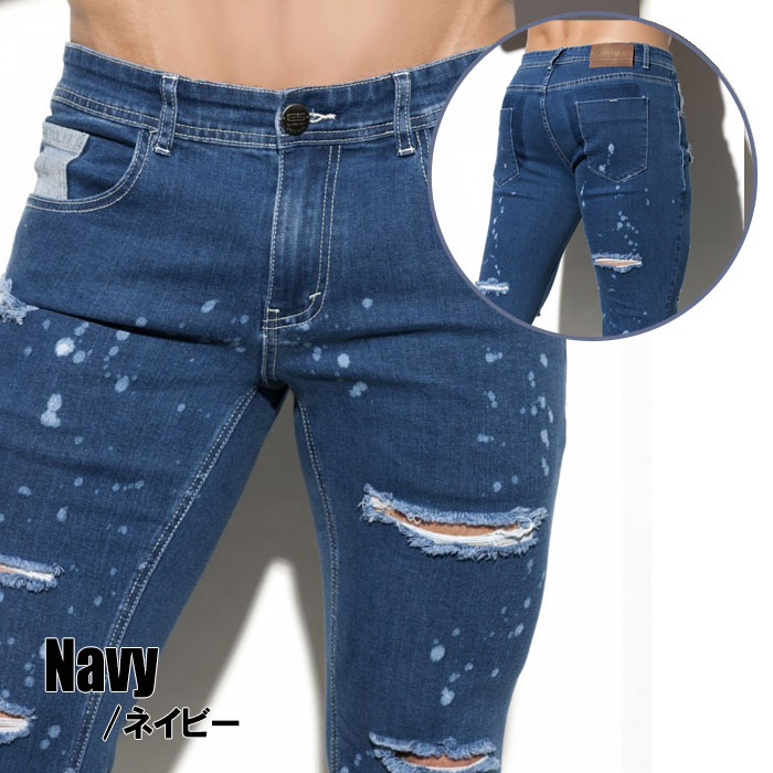 4c22b050b33 ... EScollection (E S collection) RIPPED JEANS damage jeans roller is low  waist bleach discoloration processing ...