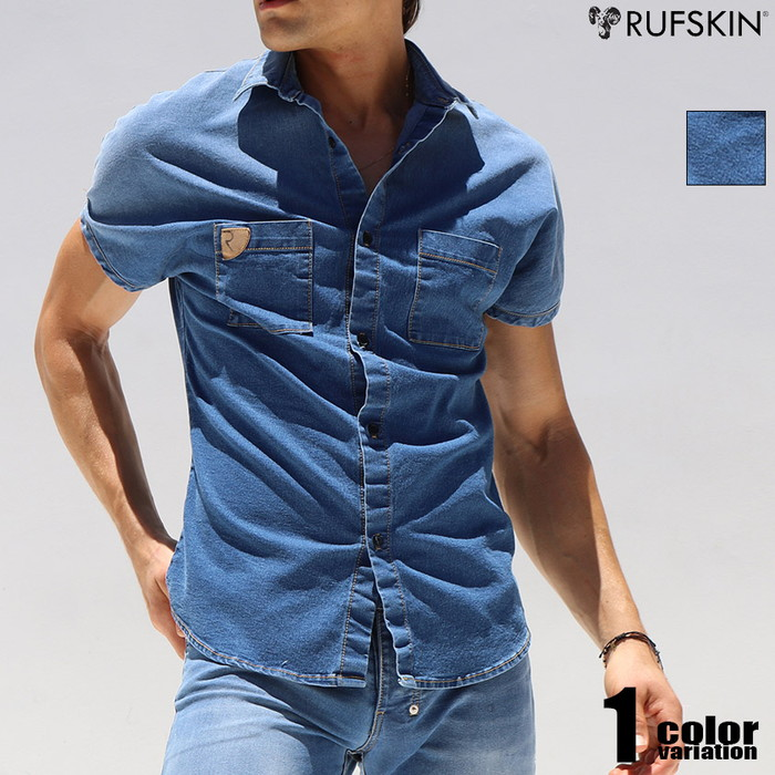 RUFSKIN(ラフスキン) STUD デニム風カジュアルシャツ メンズ ファッション トップス 半袖