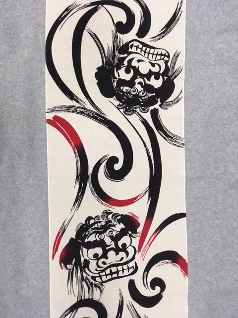 138-送料無料!男物ゆかた 綿100%   反物  日本製 夏祭り 花火大会 盆踊り大会 茶地    白地  獅子舞柄  粋 遊び心 メンズ