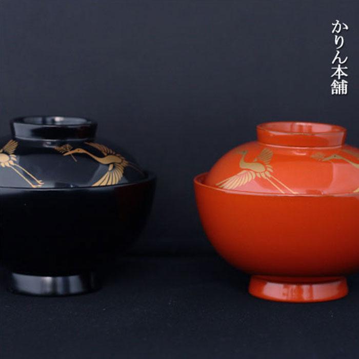 [送料無料]フタ付き雑煮椀 夫婦 松喰鶴 吸物椀 木製越前漆器 おしゃれ