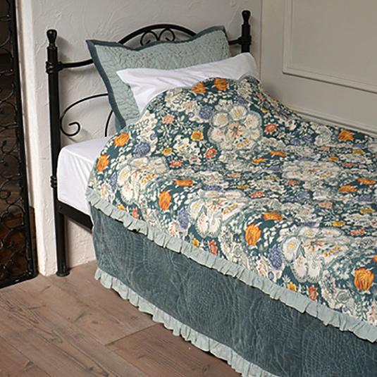 キルト ベッドカバー セット シングル/セミダブル 【Velvet&Frill】 花柄 フリル インド綿100% ベッドスプレッド & ピローケース(枕カバー) おしゃれ かわいい