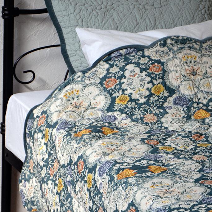 キルト ベッドカバー セット シングル/セミダブル 【Flower】 花柄 インド綿100% ベッドスプレッド & ピローケース(枕カバー) おしゃれ かわいい