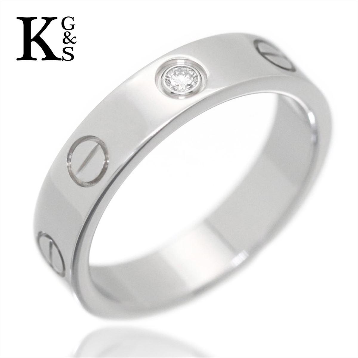 【ギフトランク】【4号-23号】カルティエ/Cartier / ジュエリー 指輪 LOVE ミニラブリング 1Pハーフダイヤ K18WG ホワイトゴールド レディースサイズ