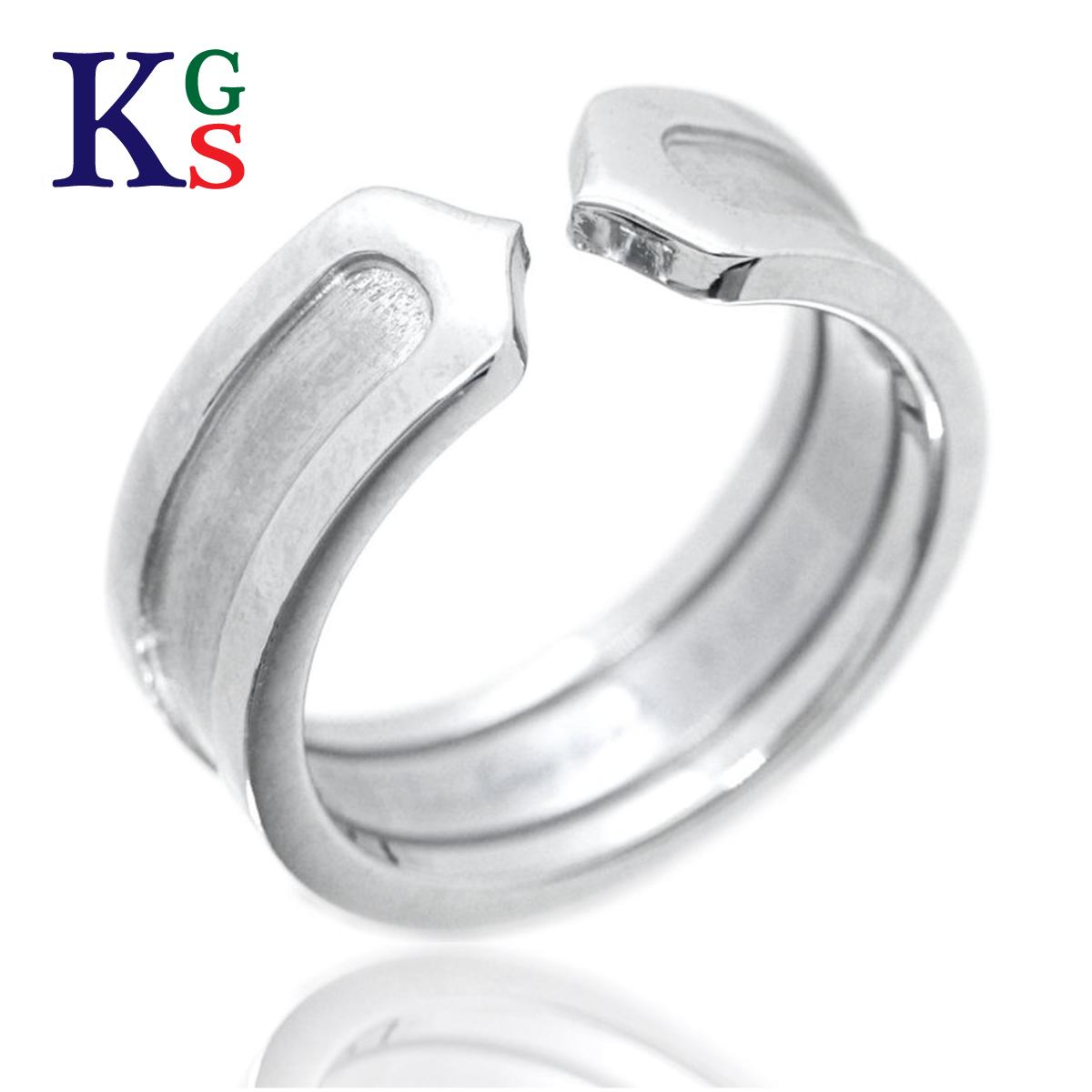 【ギフト品質】【名入れ】カルティエ/Cartier / ジュエリー 指輪 レディース ホワイトゴールド / 2C ロゴリング K18WG B4040500