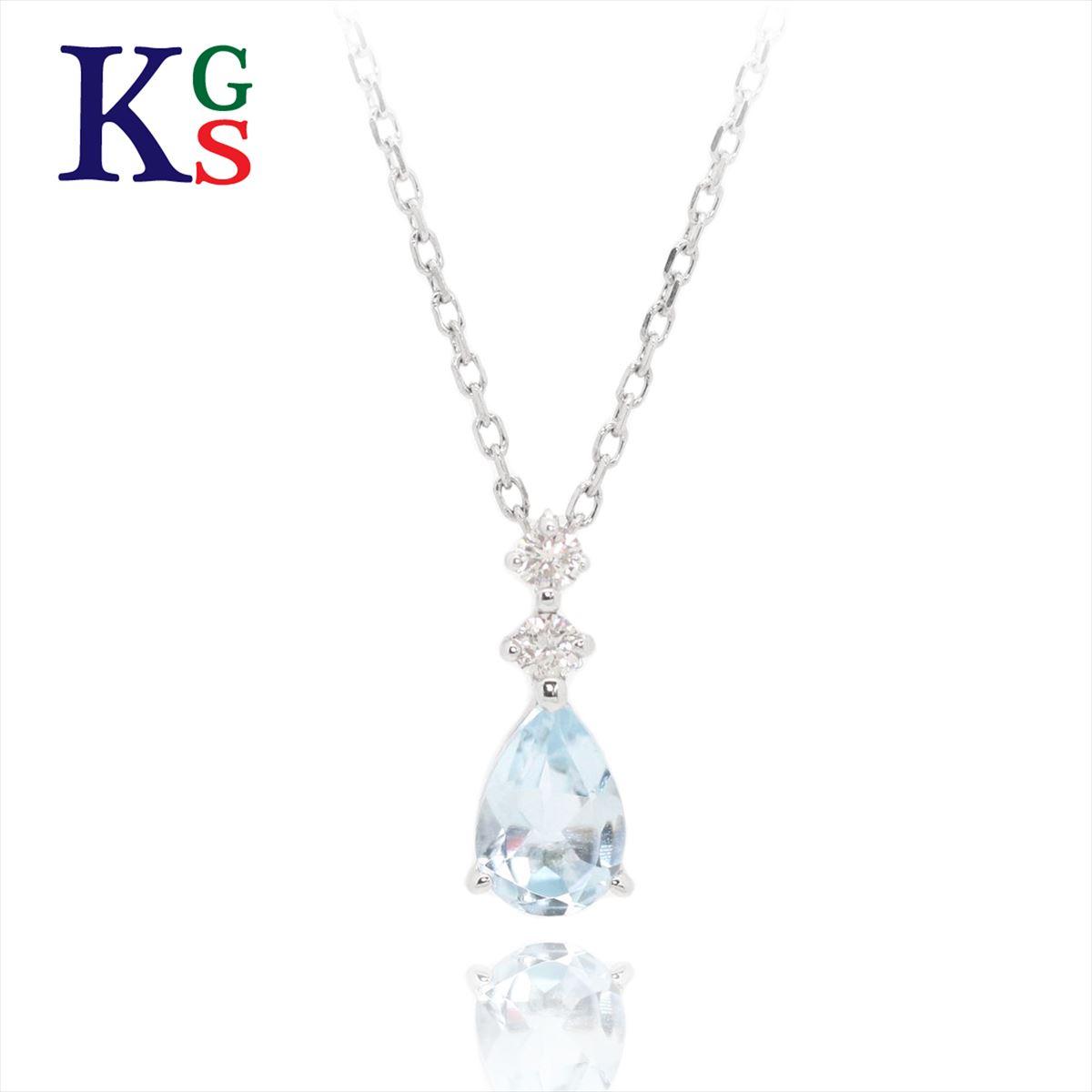 【ギフト品質】ヨンドシー / 4°C ジュエリー ネックレス レディース / ホワイトゴールド K10WG アクアマリン 2Pダイヤモンド 1227