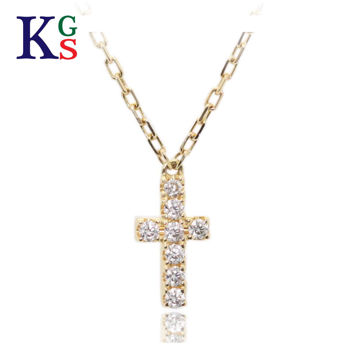 【ギフト品質】【0.05ct】AHKAH/アーカー ジュエリー クロスパヴェネックレス K18YG イエローゴールド 8Pダイヤモンド / レディース ジュエリー ダイアモンド ワンポイント