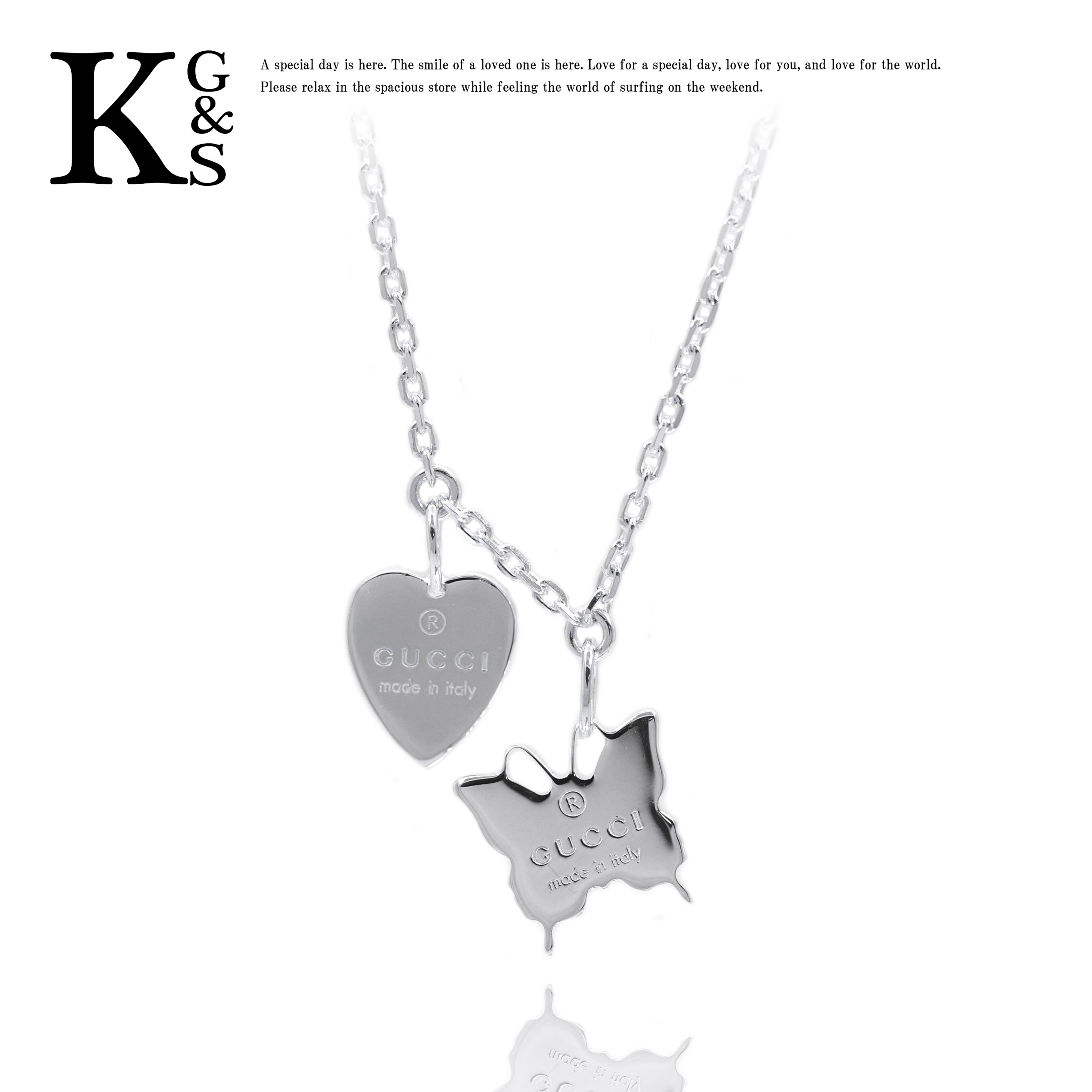 The Gucci /GUCCI / jewelry Lady\u0027s necklace / trademark butterfly \u0026 heart  motif pendant Ag925 223983 J8400 8106 / two top