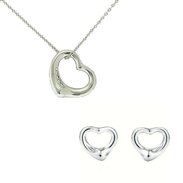 【セット販売】ティファニー/Tiffany オープンハート ネックレス&ピアス レディース 5Pダイヤモンド Pt950/プラチナ