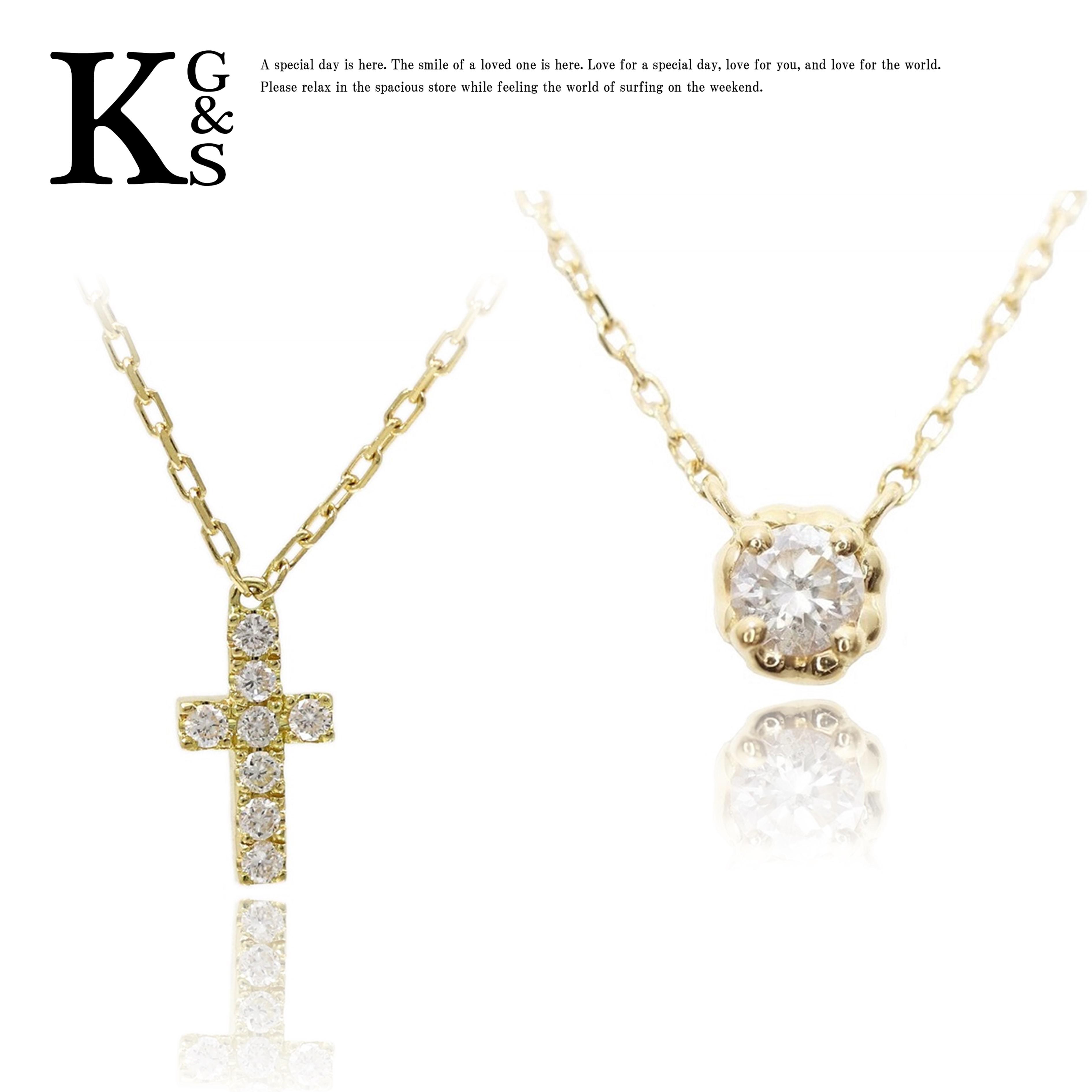 【ギフトランク】【セット販売】AHKAH / アーカー レディース クロスパヴェ&ティア ネックレス K18YG /イエローゴールド ダイヤモンド 重ね付け