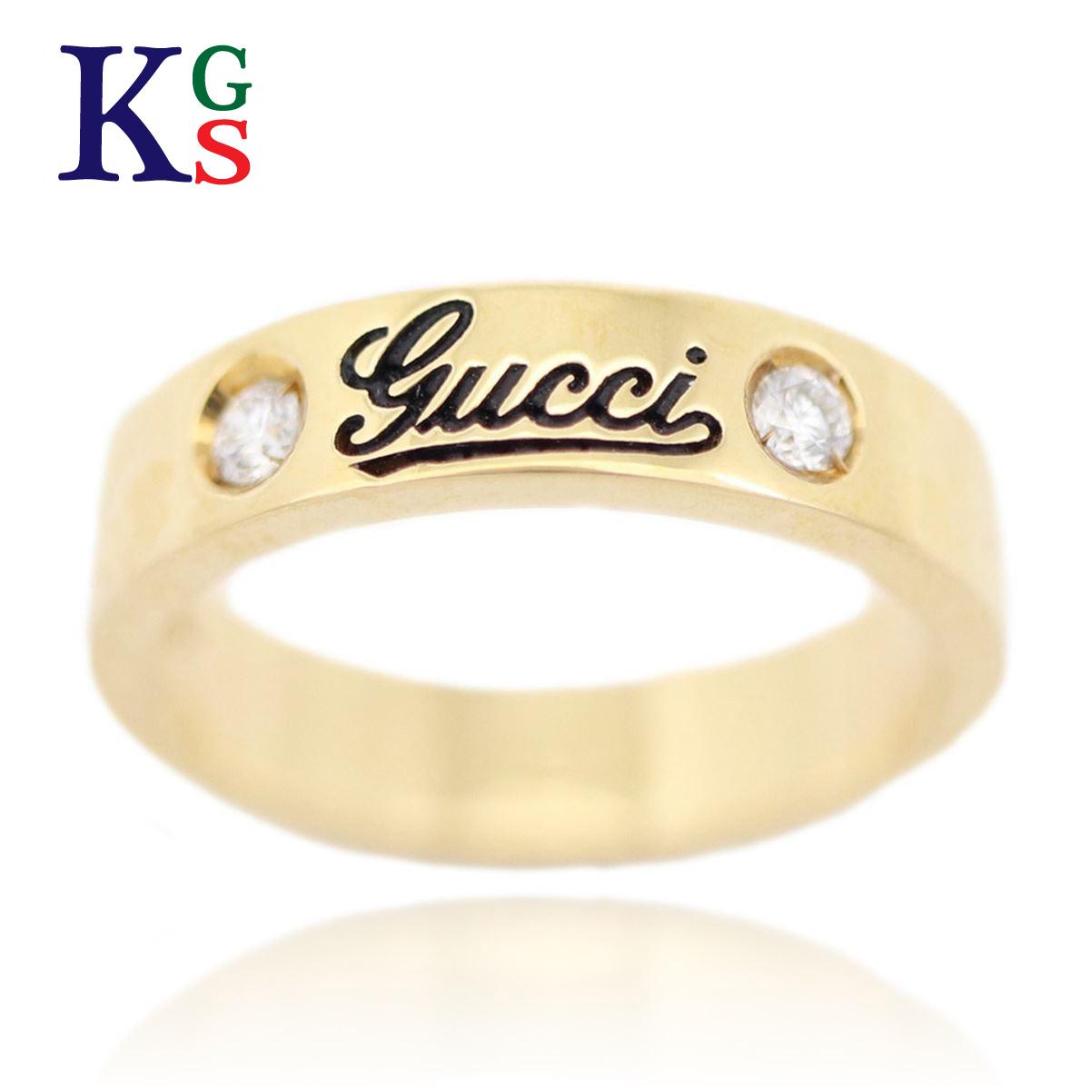 【ギフト品質】【名入れ】グッチ/GUCCI レディース ジュエリー ロゴ リング 2Pダイヤ 指輪 イエローゴールド K18YG