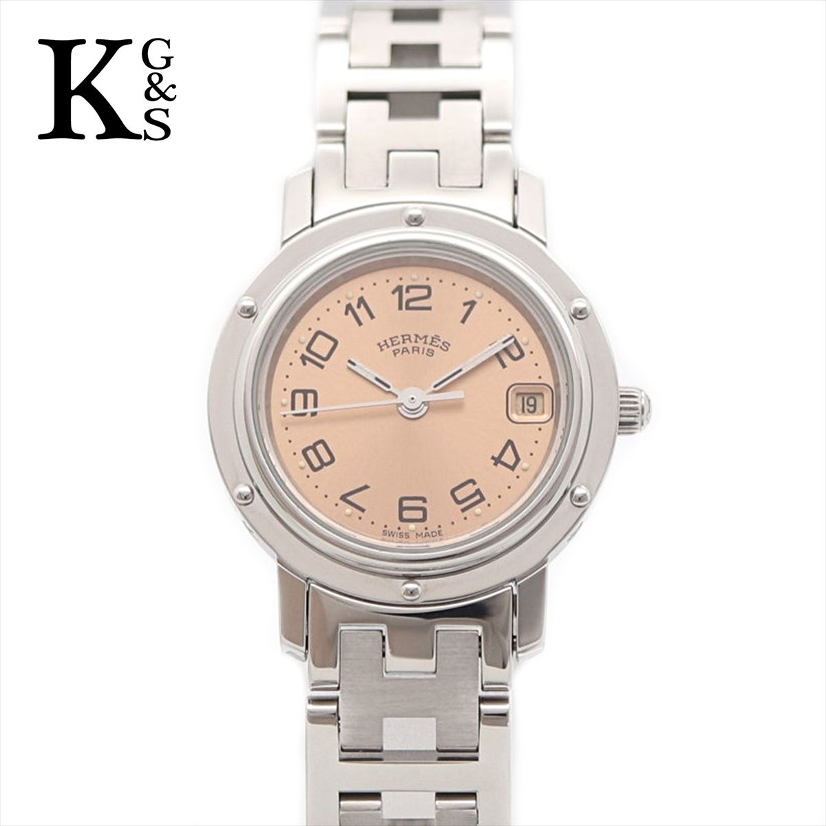 【ギフト品質】エルメス/Hermes レディース 腕時計 クリッパー ピンク文字盤 ステンレススチール CL4.210 ステンレススチール