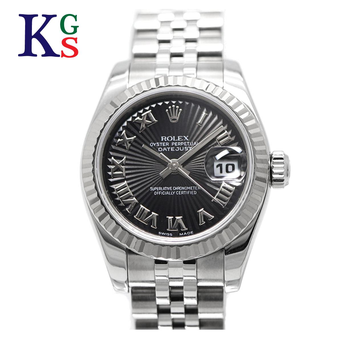 【ギフト品質】ロレックス/ROLEX レディース 腕時計 デイトジャスト ブラックローマン サンビーム レディース K18WG×SS 179174